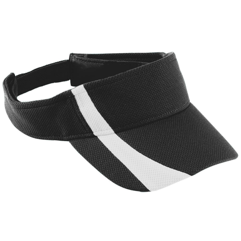 Augusta 6260 Adjustable Wicking Mesh Two-Color Visor - Black White - HIT A Double