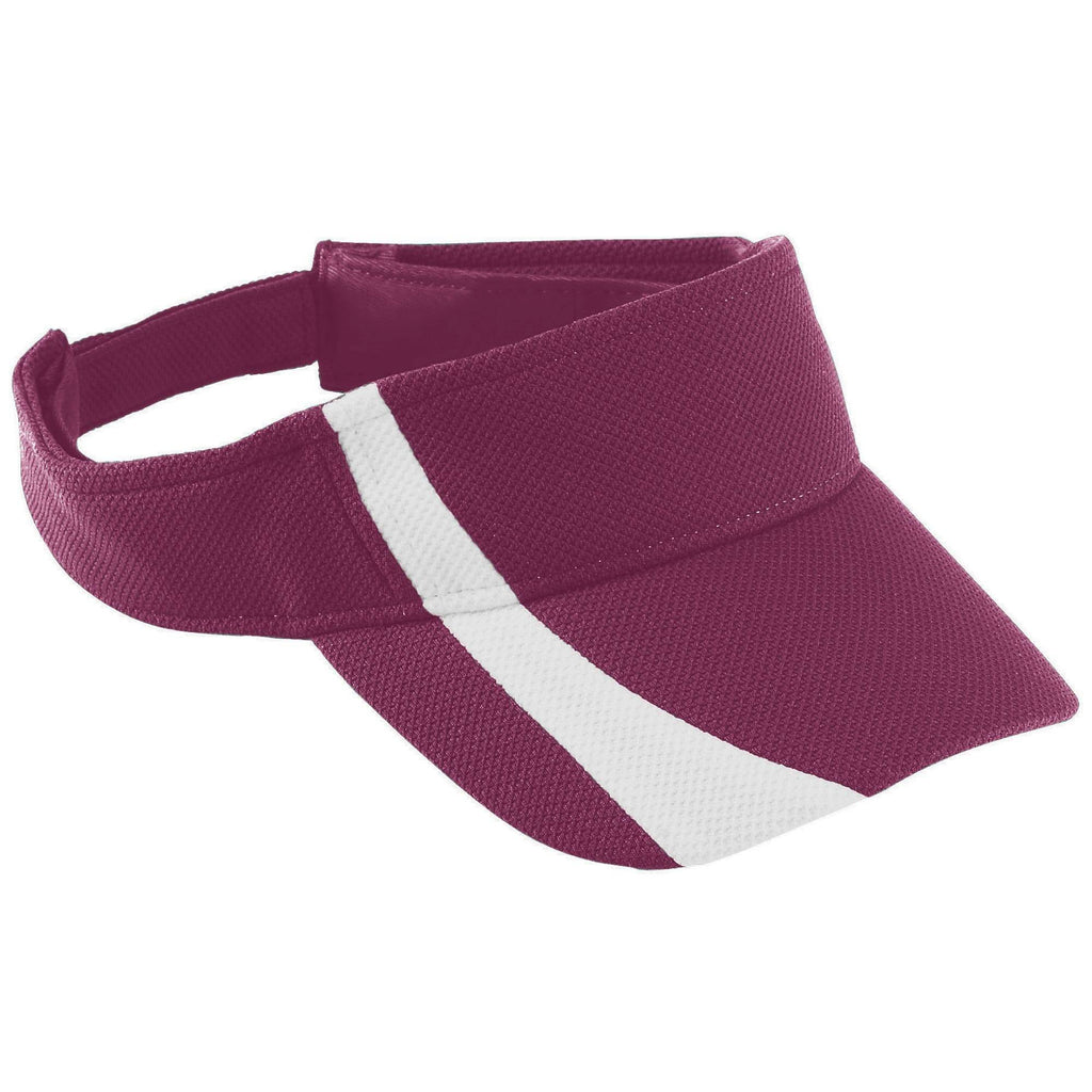 Augusta 6260 Adjustable Wicking Mesh Two-Color Visor - Maroon White - HIT A Double