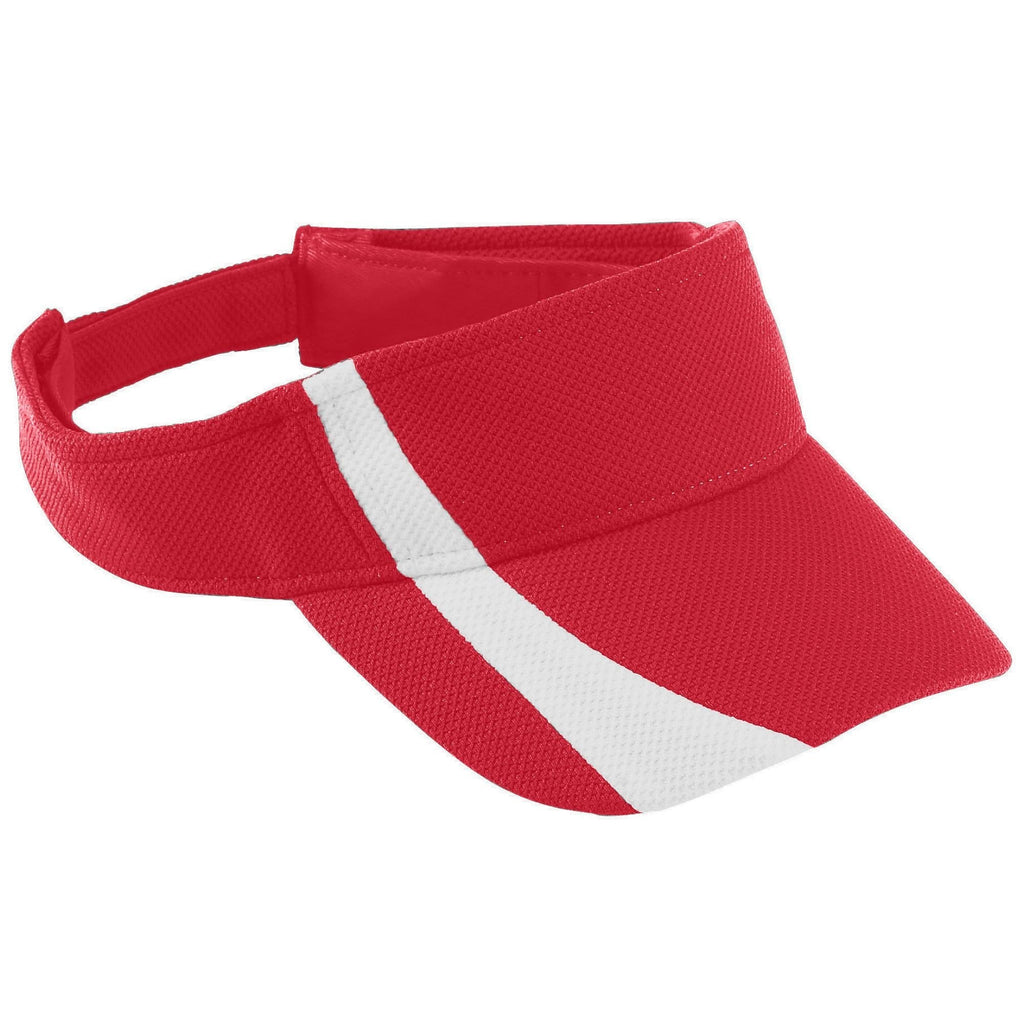 Augusta 6260 Adjustable Wicking Mesh Two-Color Visor - Red White - HIT A Double