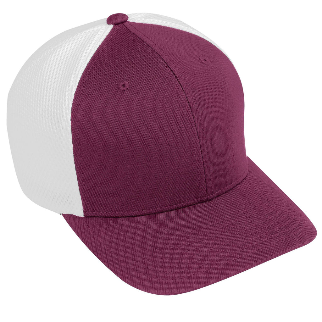 Augusta 6301 Flexfit Vapor Cap - Youth - Maroon White - HIT A Double