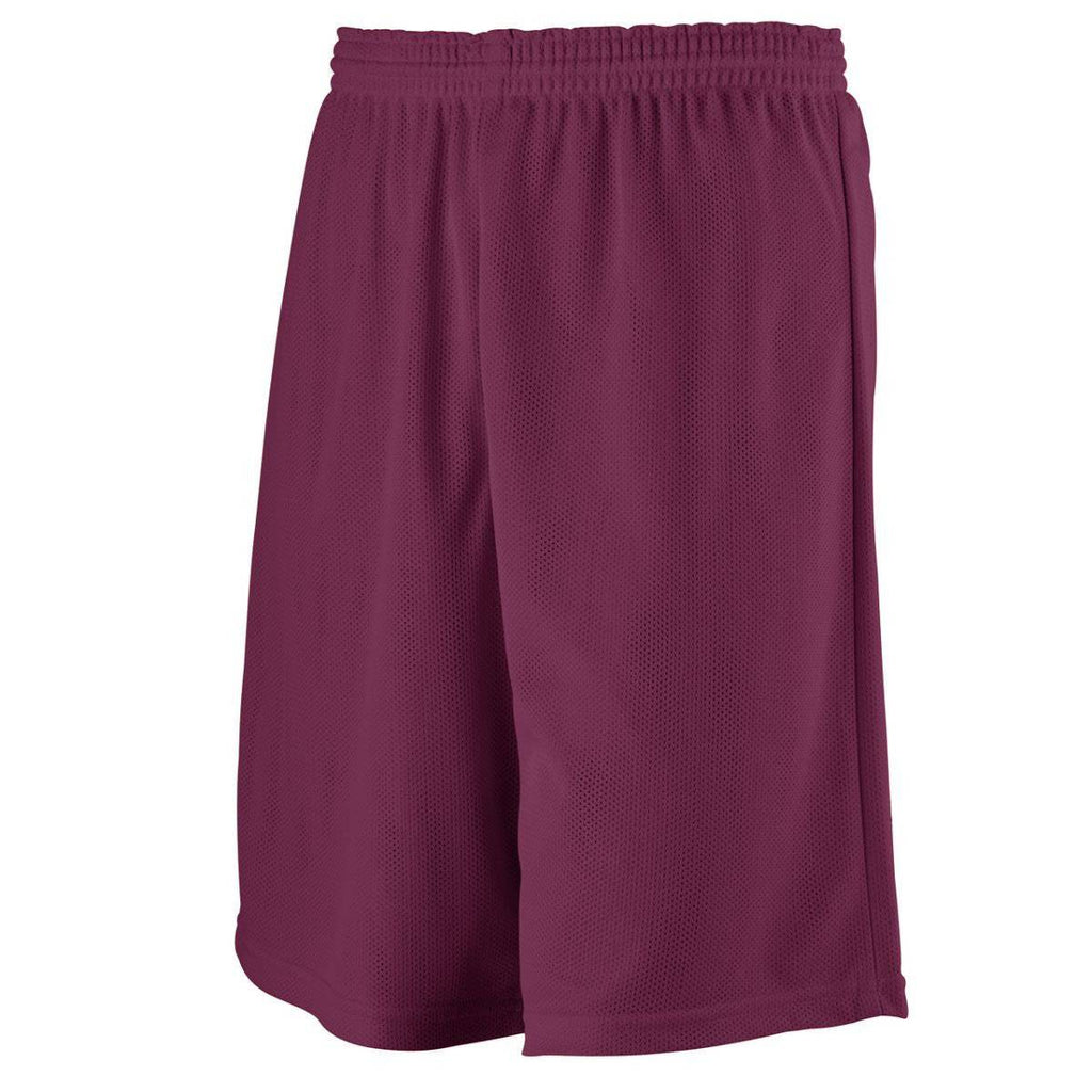 Augusta 739 Youth Longer Length Mini Mesh League Short - Maroon - HIT A Double