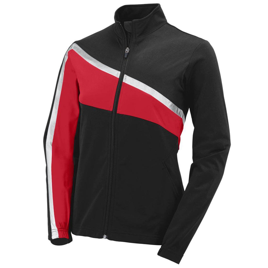 Augusta 7736 Girls Aurora Jacket - Black Red Light Gray - HIT A Double