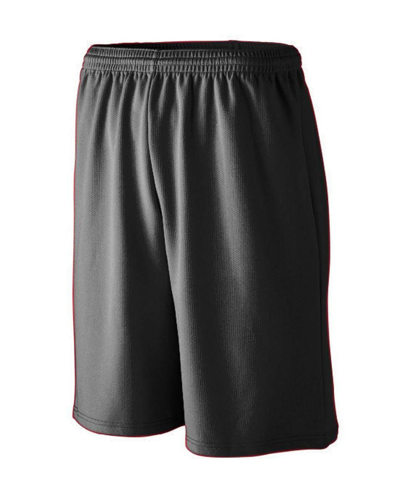 Augusta 802 Longer Length Wicking Mesh Athletic Short - Black - HIT A Double