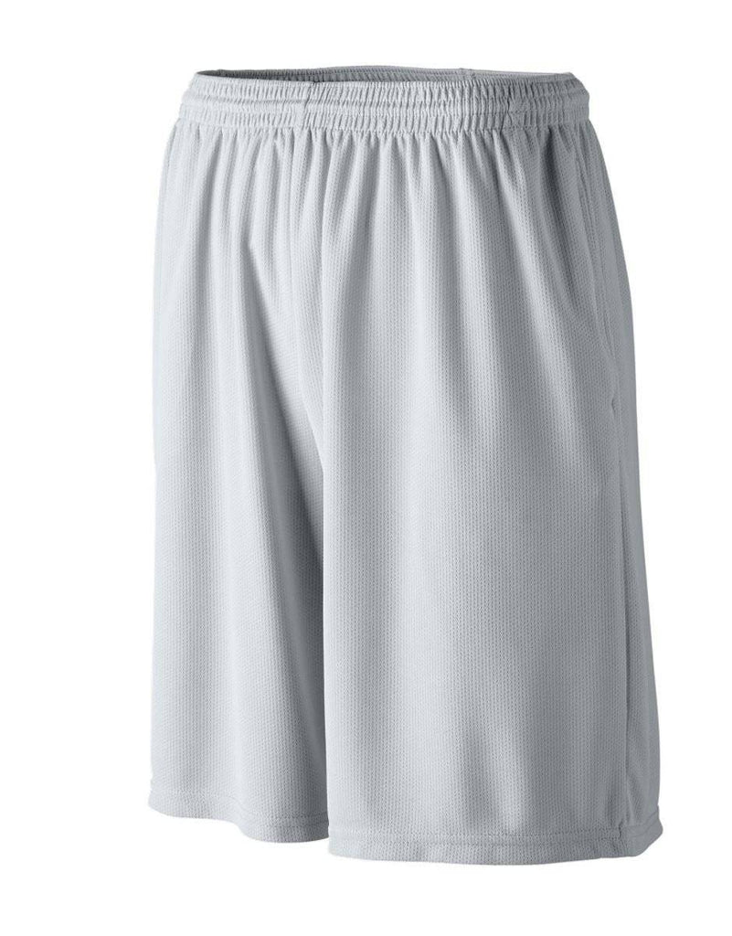 Augusta 803 Longer Length Wicking Short W/ Pockets - Light Gray Gray - HIT A Double