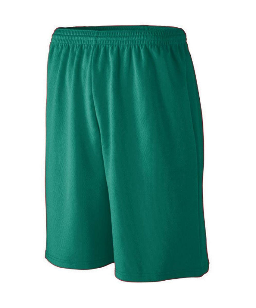 Augusta 809 Longer Length Wicking Mesh Athletic Short - Youth - Forest - HIT A Double
