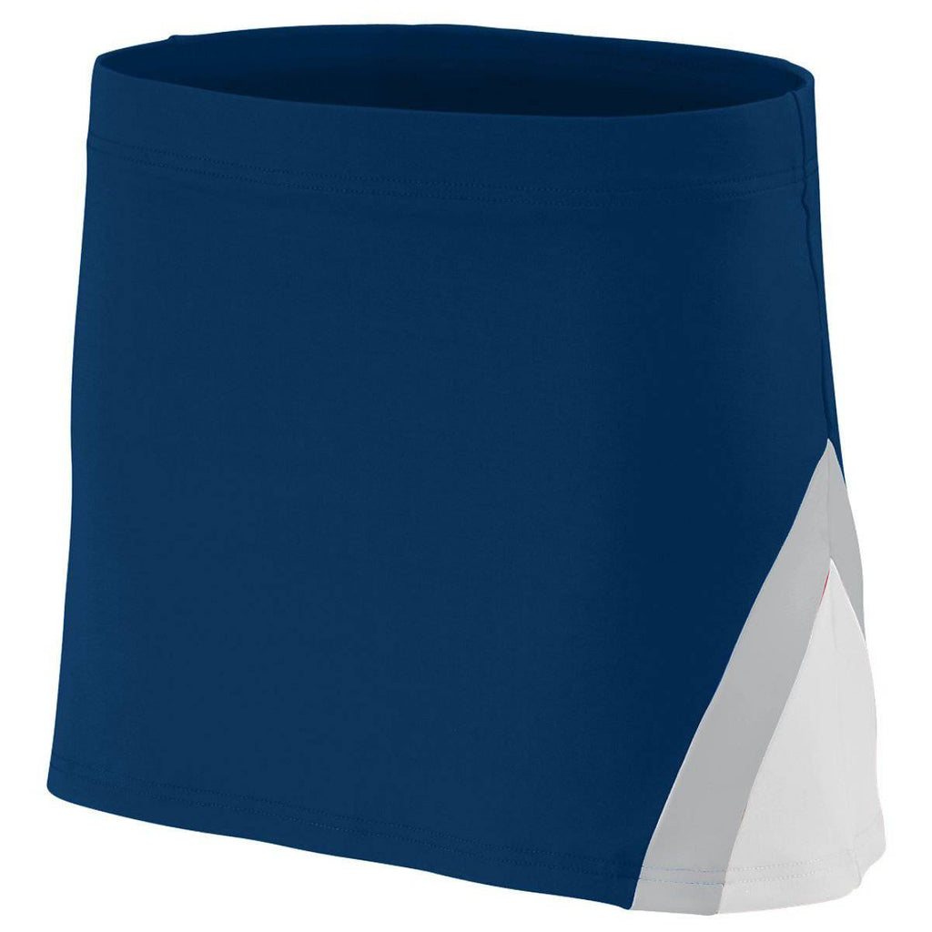 Augusta 9205 Ladies Cheerflex Skirt - Navy White Metallic Silver - HIT A Double