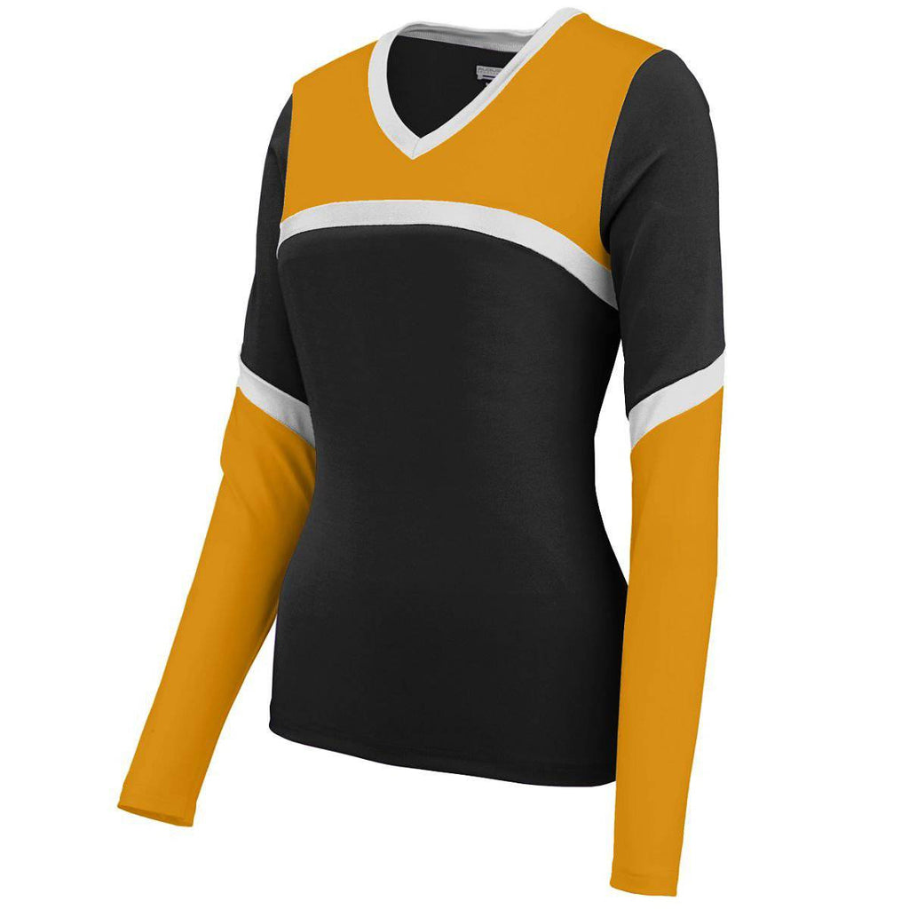 Augusta 9210 Ladies Cheerflex Rise Up Shell - Black Gold White - HIT A Double
