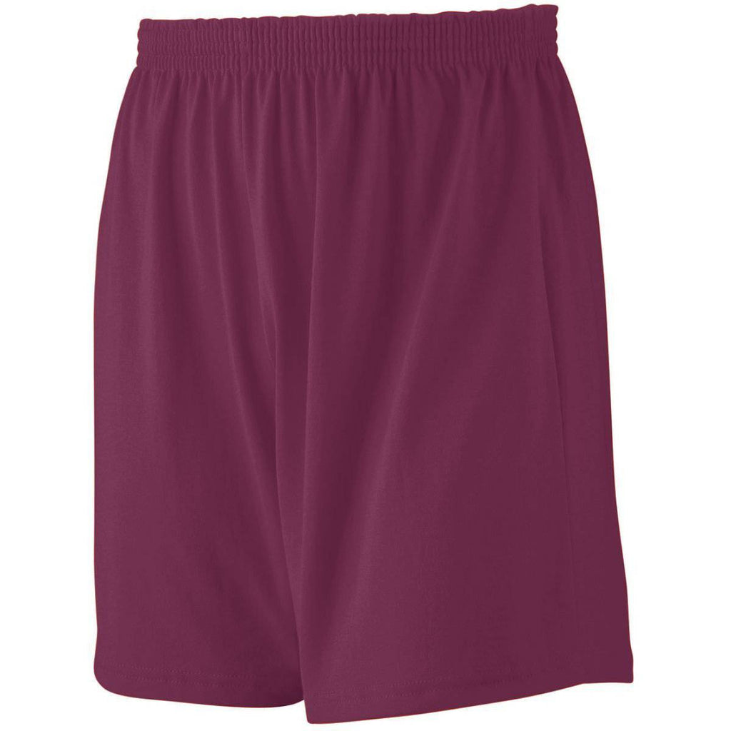Augusta 991 Jersey Knit Short-Youth - Maroon - HIT A Double