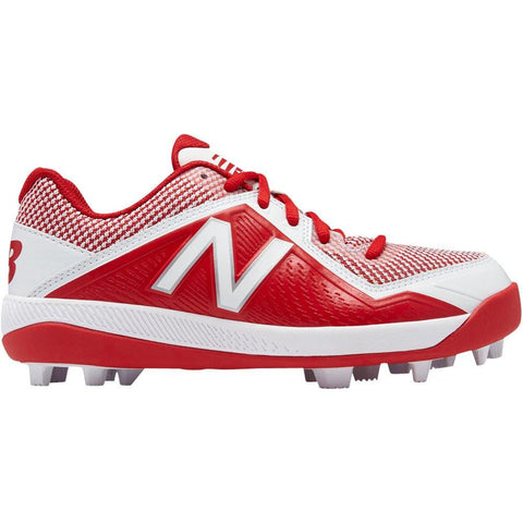 New Balance Youth J4040v4 Molded Baseball Cleats - Red White