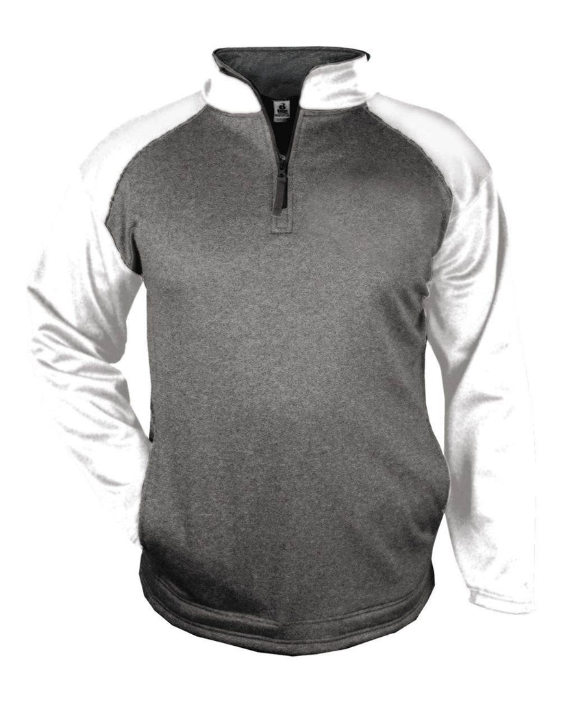 Badger 1484 Sport Heather 1/4 Zip - Carbon White - HIT A Double