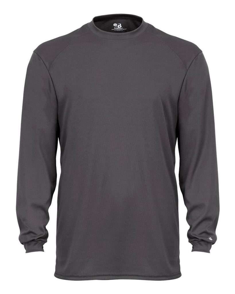 Badger 2104 Youth B-Core Long Sleeve Tee - Dark Gray - HIT A Double