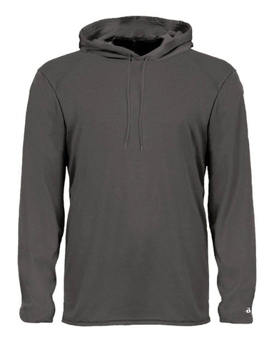 Badger 2105 B-Core Long Sleeve Youth Hood Tee - Graphite - HIT A Double