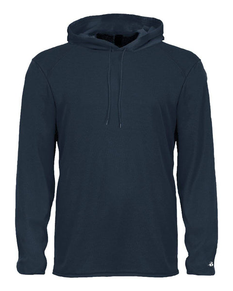 Badger 2105 B-Core Long Sleeve Youth Hood Tee - Navy - HIT A Double