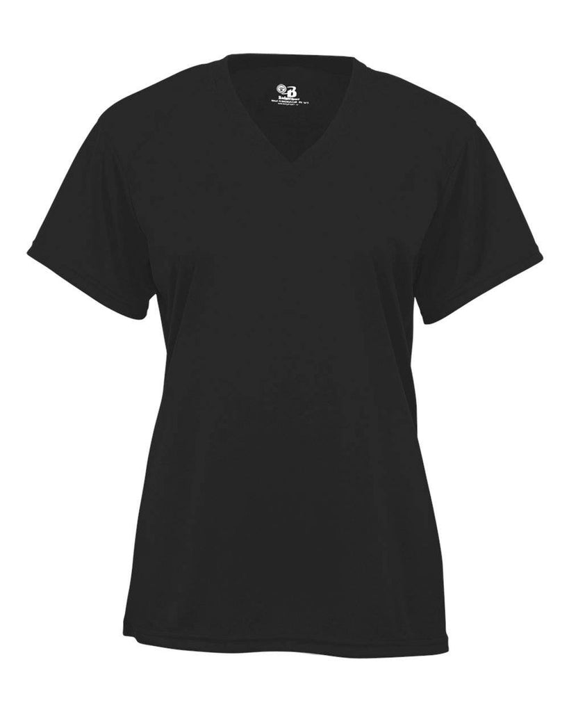 Badger 2162 B-Core Youth V-Neck Tee - Black - HIT A Double