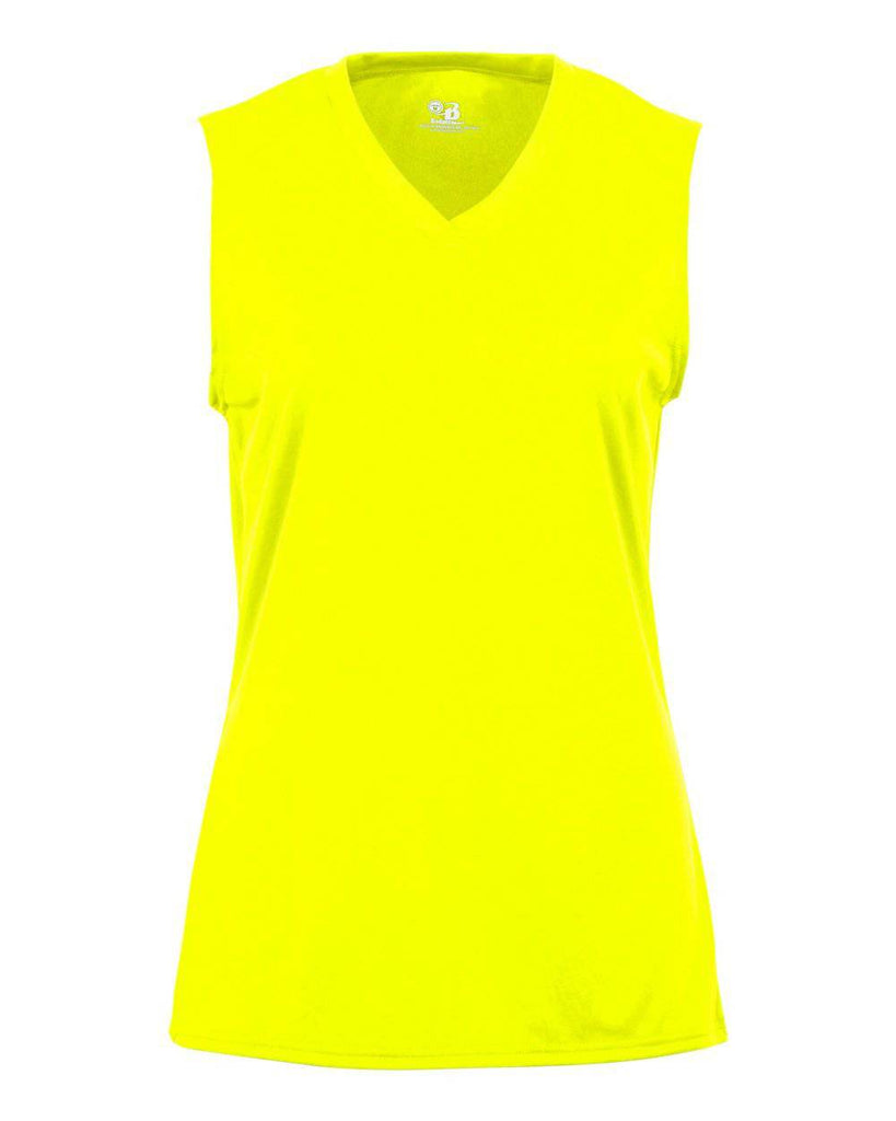 Badger 2163 B-Core Girls Sleeveless Tee - Yellow Green - HIT A Double