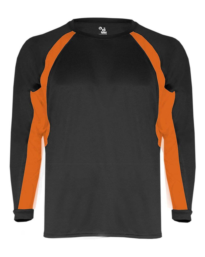 Badger 4154 Hook Long Sleeve Tee - Black Orange - HIT A Double