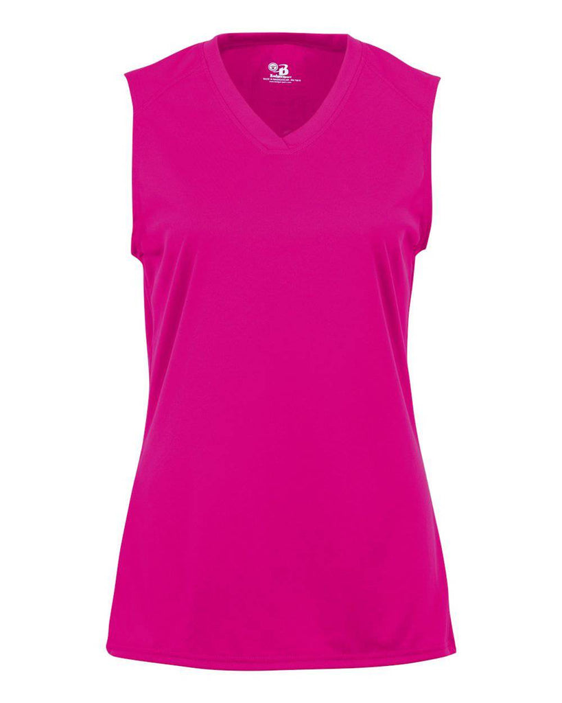 Badger 4163 Ladies B-Core Sleeveless Tee - Hot Pink - HIT A Double