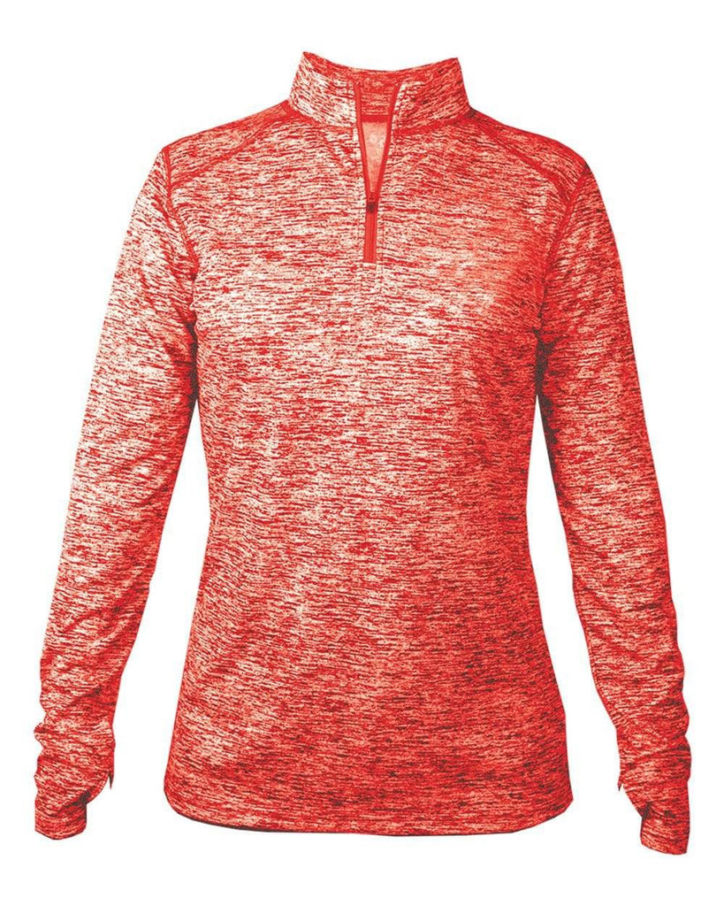 Badger 4193 Blend Ladies 1/4 Zip - Red Blend - HIT A Double