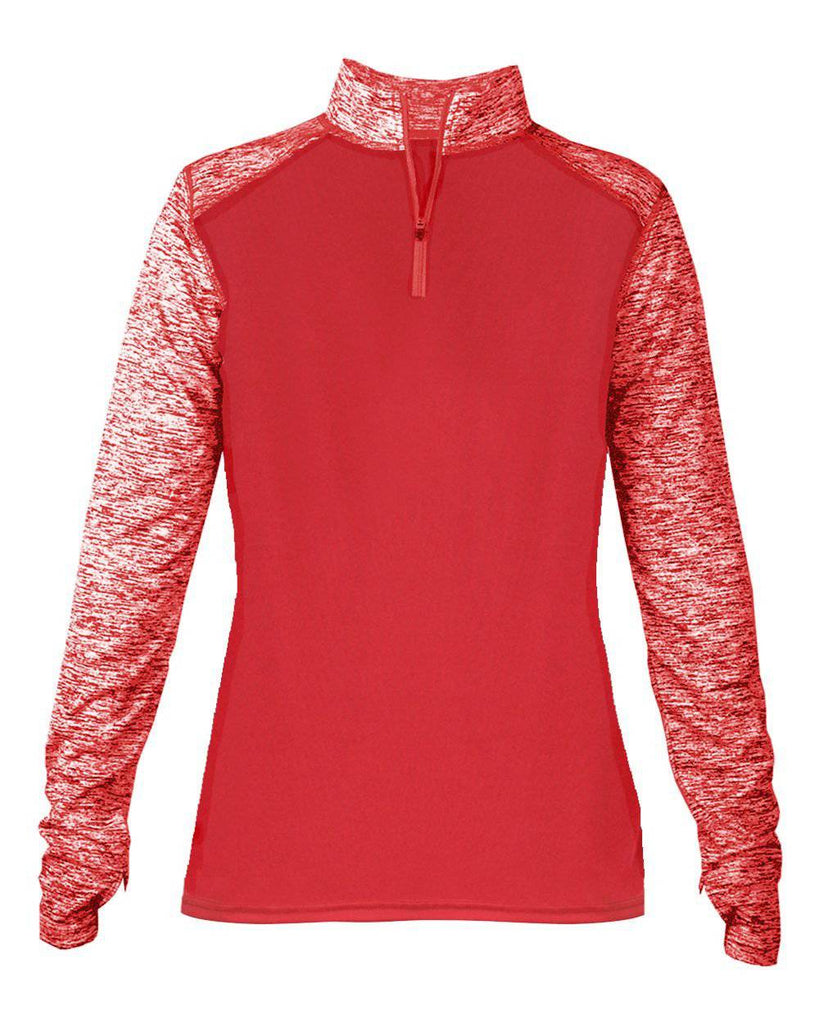 Badger 4198 Sport Blend Ladies 1/4 Zip - Red Red Blend - HIT A Double