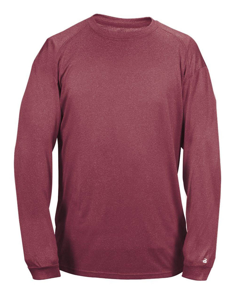 Badger 4304 Pro Heather Long Sleeve Tee - Maroon - HIT A Double
