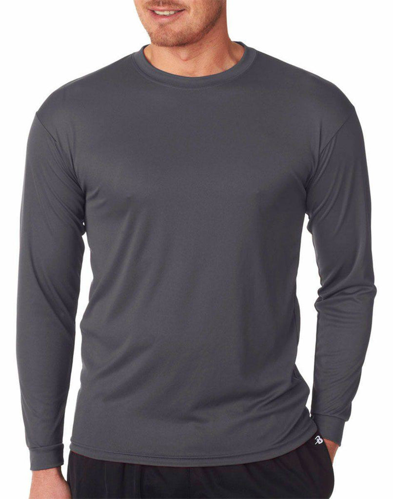 Badger 5104 C2 Long Sleeve Performance Tee - Graphite - HIT A Double