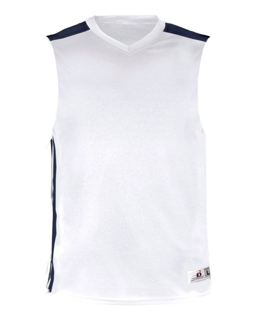Badger 8948 Ladies B Key Tank - White Navy - HIT A Double