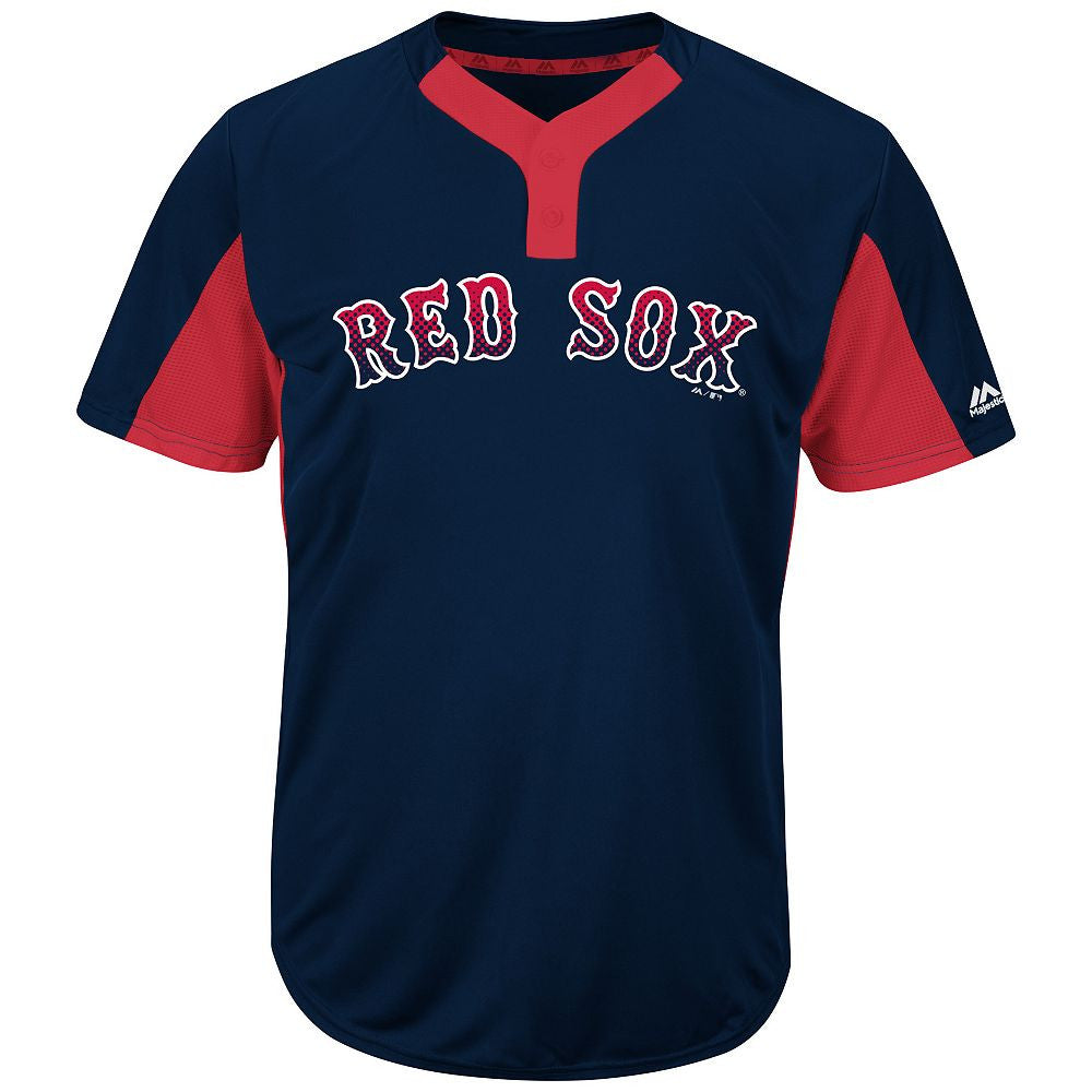 Majestic MAI383-MAIY83 MLB Premier Two-button Colorblocked Jersey - Red Sox