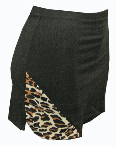 Pizzazz Animal Print Skirt with  Boys Cut Briefs - Black Leopard