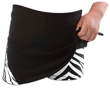 Pizzazz Animal Print Skirt with  Boys Cut Briefs - Black Zebra