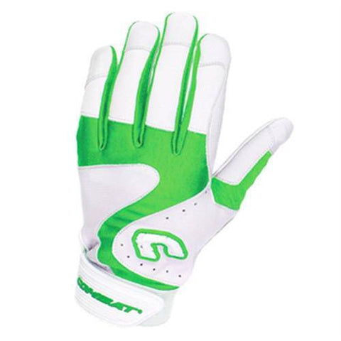 Combat Premium G3 Adult Baseball Softball Batting Gloves - White Lime - HIT A Double