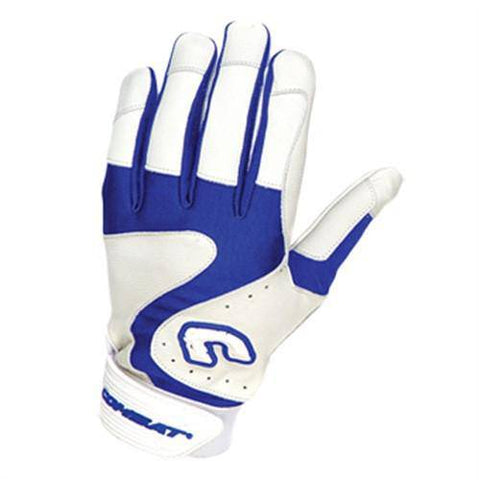 Combat Premium G3 Adult Baseball Softball Batting Gloves - White Royal - HIT A Double