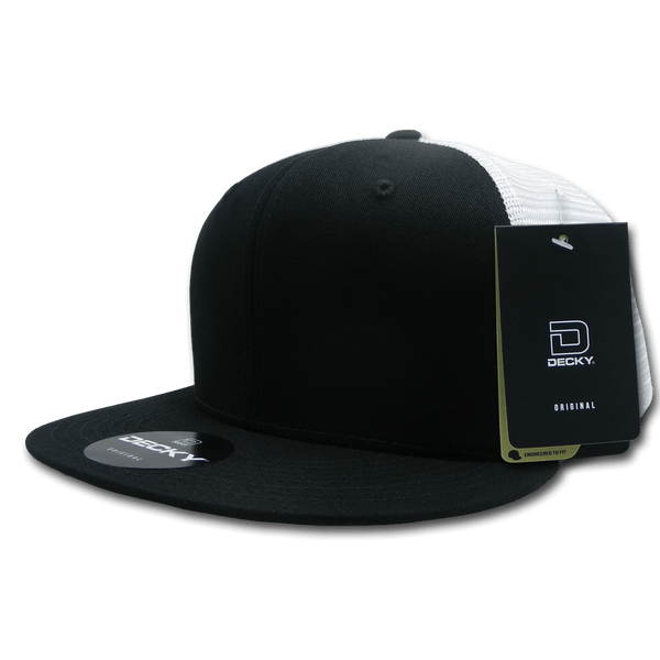 Decky 1075 Fitted Cotton Trucker Cap - Black White - HIT A Double