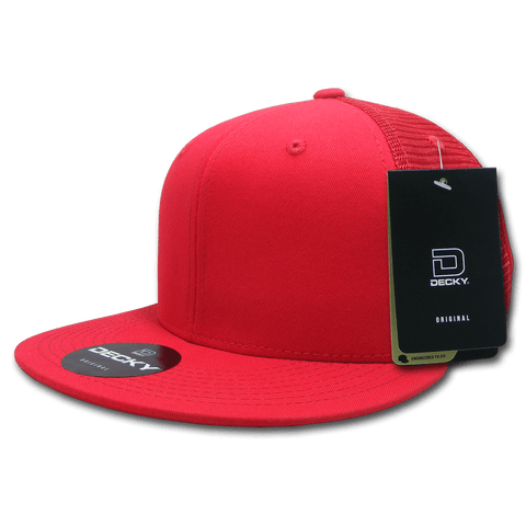 Decky 1075 Fitted Cotton Trucker Cap - Red - HIT A Double