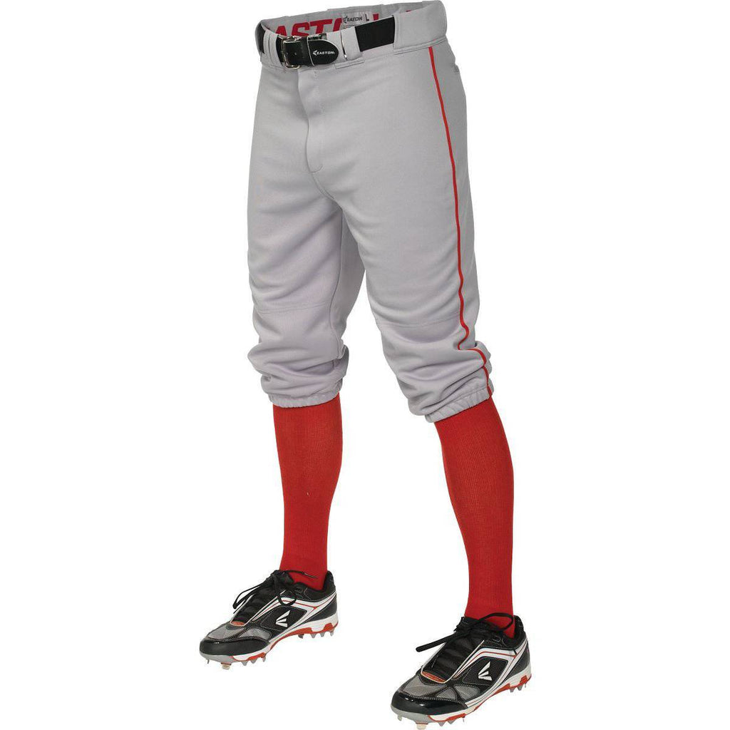 Easton Pro+ Piped Knicker Youth Baseball Pant - Gray Red - HIT A Double