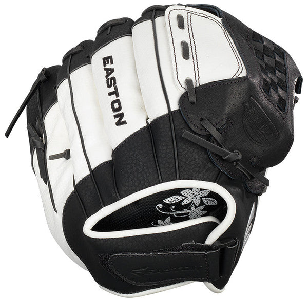 "Easton Z-Flex ZFXFP 1100BKWH 11.00"" Utility Fastpitch Glove - Black White - Softball Gloves - Hit A Double - 1"