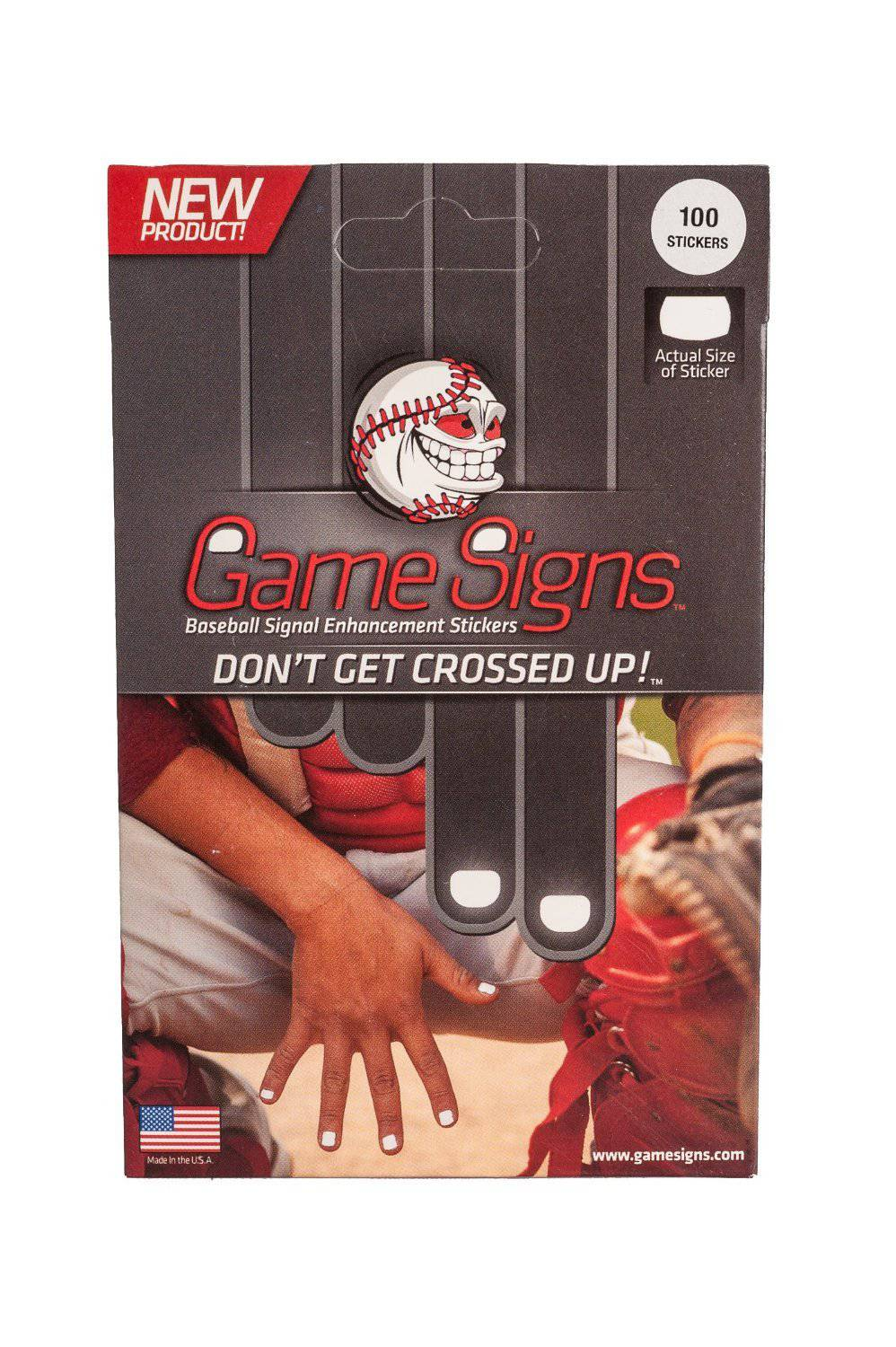 Game Signs Baseball Signal Stickers Optic White -100 pk - HIT A Double