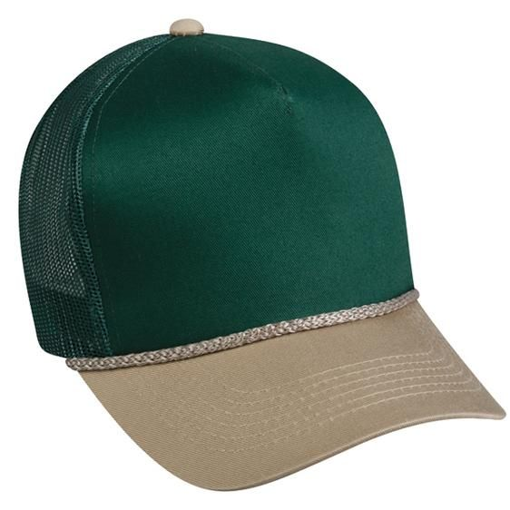 OC Sports GL-155 Adjustable Mesh Back Cap - Dark Green Tan