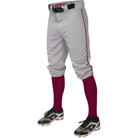 Easton Pro+ Piped Knicker Youth Baseball Pant - Gray Maroon - Baseball Apparel - Hit A Double