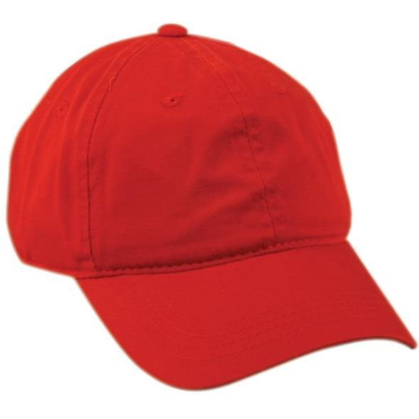 OC Sports GWT-111 Adjustable Strap Garment Wash Cotton Cap - Red - Baseball Apparel, Softball Apparel, Basketball, Football, Lacross/Field Hockey, Soccer, Training/Running, Volleyball - Hit A Double