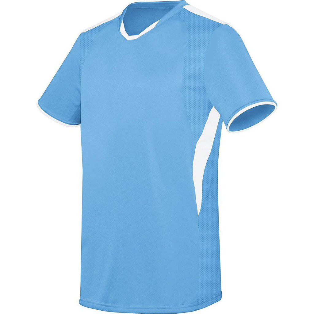 High Five 322890 Adult Globe Jersey - Columbia Blue White - HIT A Double