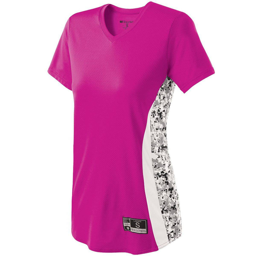 Holloway 221317 Ladies Change-Up Jersey - Power Pink White White Print - HIT A Double