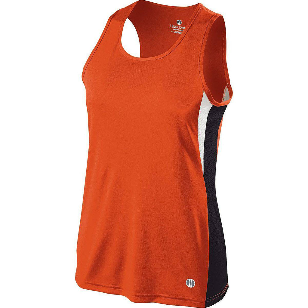 Holloway 221340 Ladies Vertical Singlet - Orange Black White