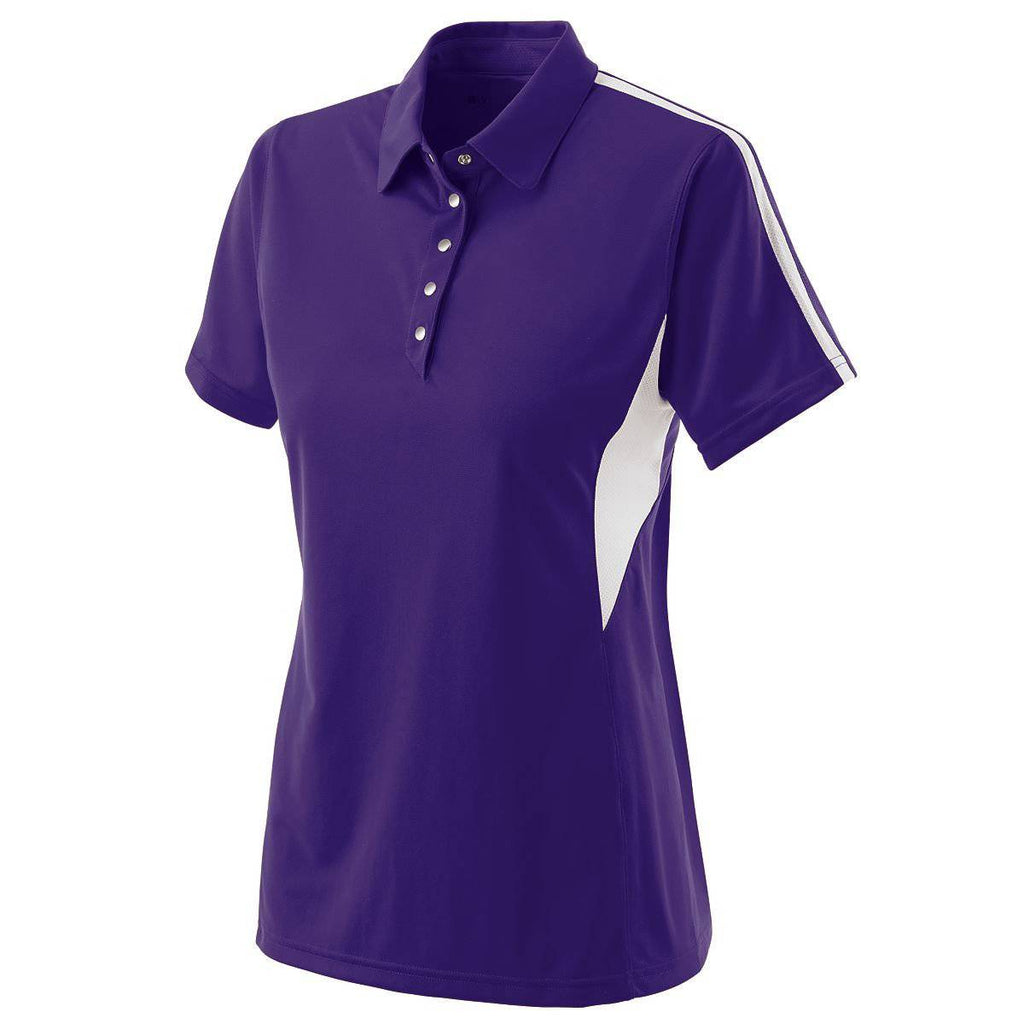 Holloway 222308 Ladies Shark Bite Polo - Purple White - HIT A Double