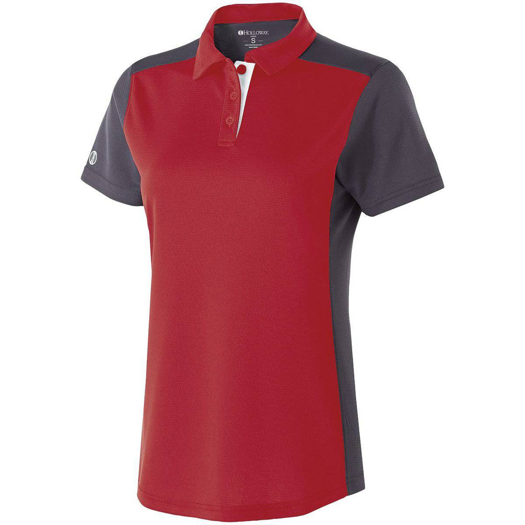 Holloway 222386 Ladies Division Polo - Scarlet Carbon White - HIT A Double