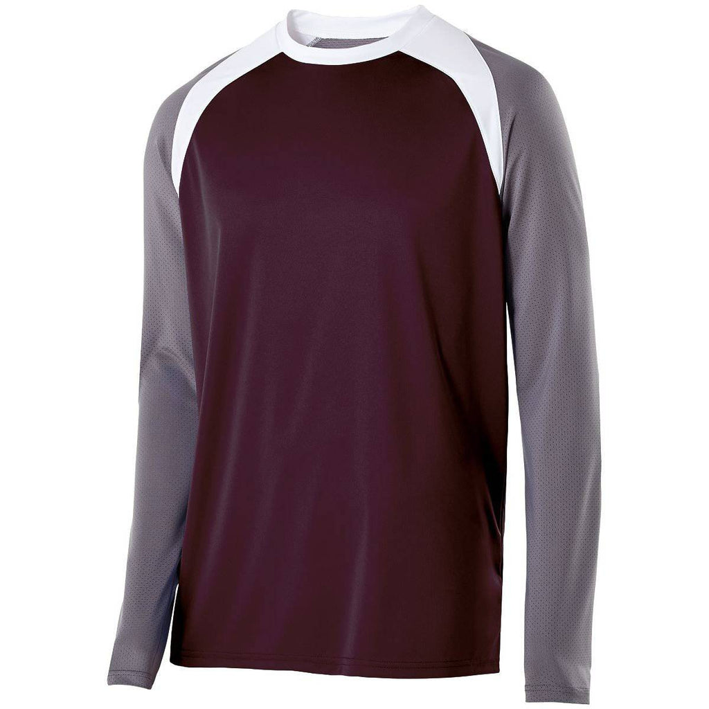 Holloway 222504 Shield Shirt - Dark Maroon Graphite White