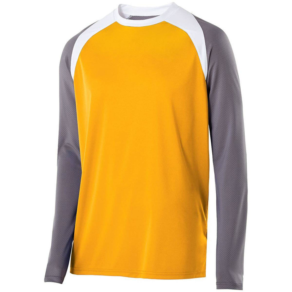 Holloway 222504 Shield Shirt - Light Gold Graphite White - HIT A Double