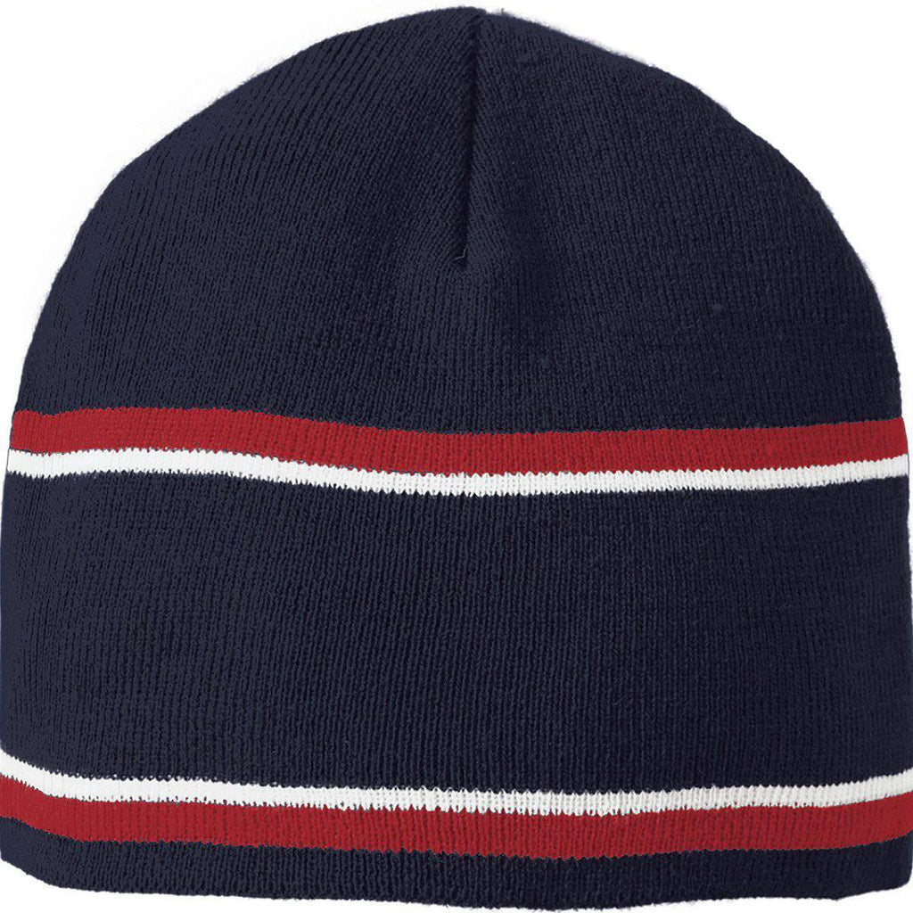 Holloway 223832 Engager Beanie - Navy Scarlet White - HIT A Double