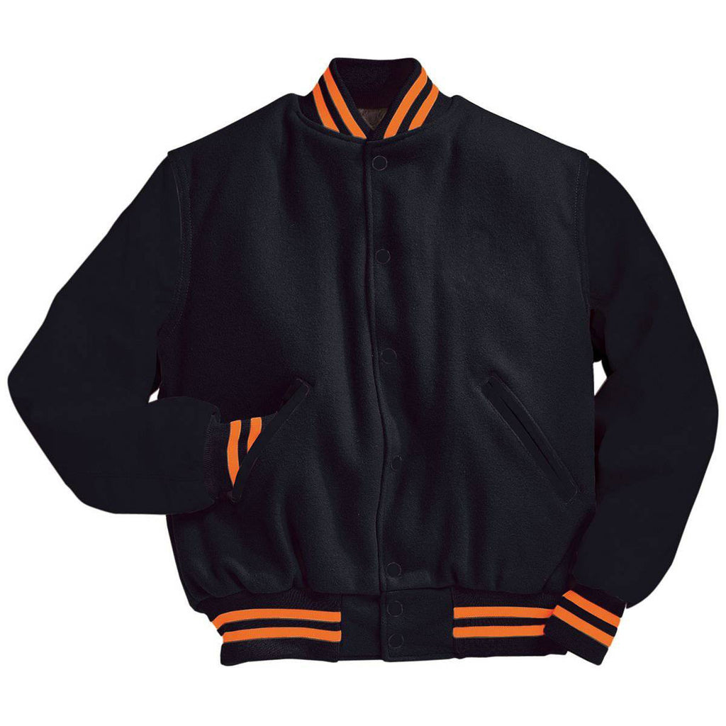 Holloway 224183 Varsity (Wool, Leather Sleeves) - Bk Burnt Orange - HIT A Double