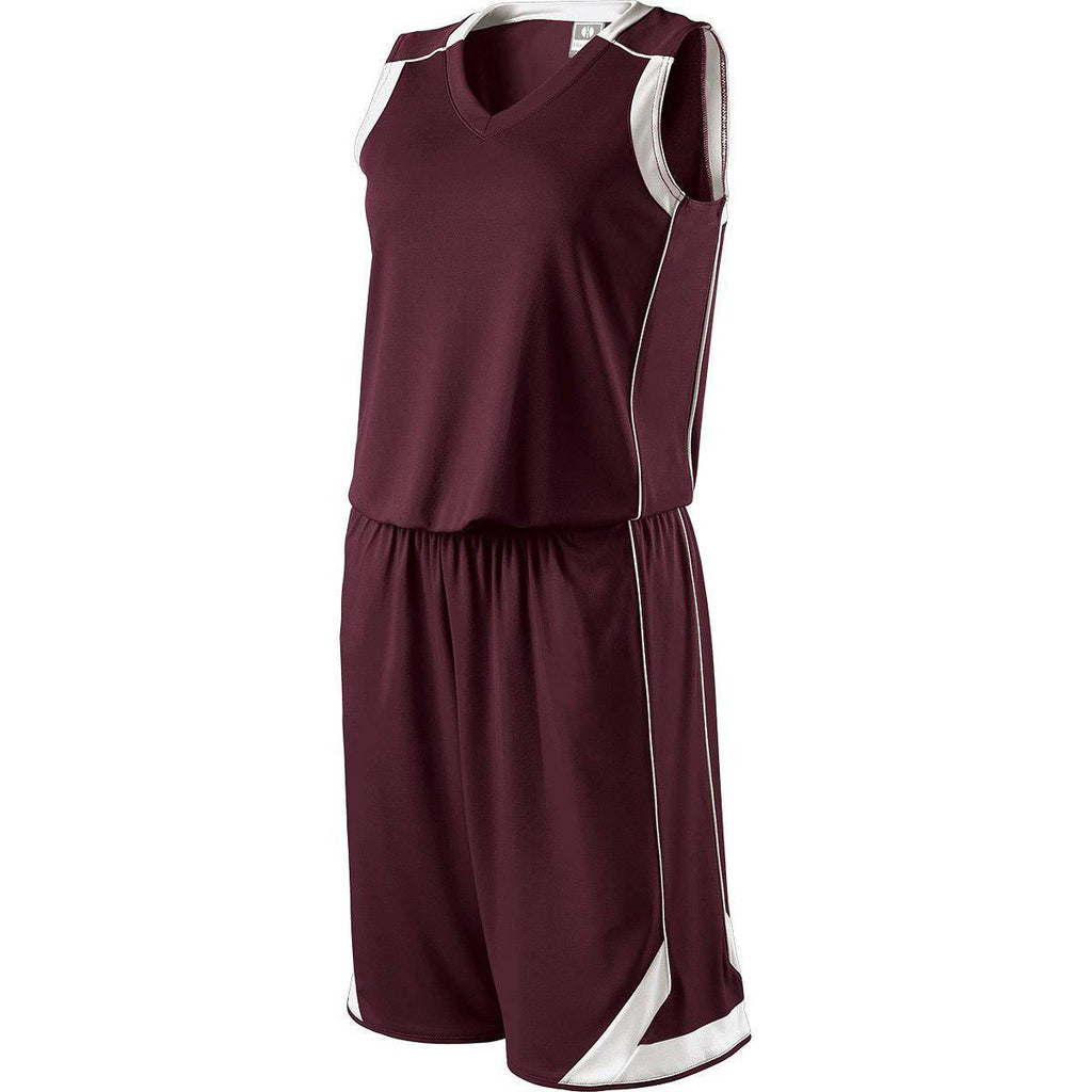 Holloway 224362 Ladies Carthage Jersey - Dark Maroon White - HIT A Double