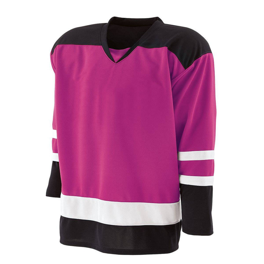Holloway 226000 Faceoff Jersey - Power Pink Black White - HIT A Double